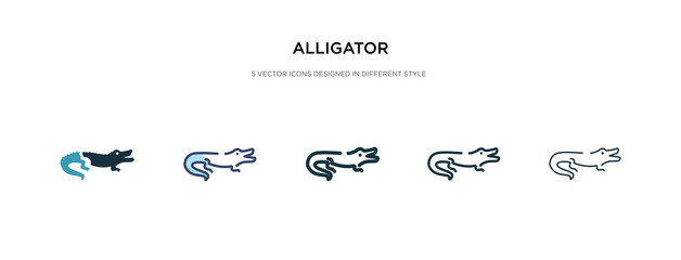 alligator icon in different style vector illustration. two colored and black alligator vector icons designed in filled, outline, line and stroke style can be used for web, mobile, ui