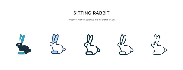 sitting rabbit icon in different style vector illustration. two colored and black sitting rabbit vector icons designed in filled, outline, line and stroke style can be used for web, mobile, ui