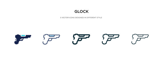 glock icon in different style vector illustration. two colored and black glock vector icons designed in filled, outline, line and stroke style can be used for web, mobile, ui