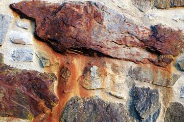 Rusty iron stone wall, detail