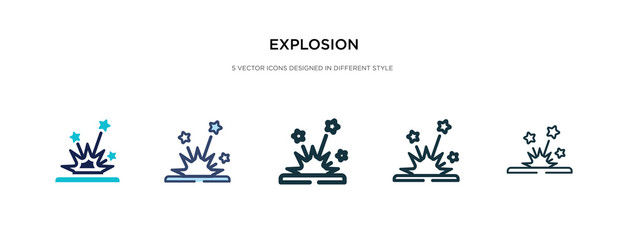 explosion icon in different style vector illustration. two colored and black explosion vector icons designed in filled, outline, line and stroke style can be used for web, mobile, ui