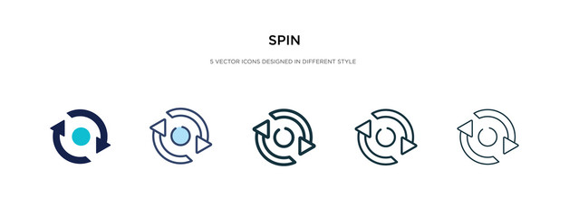 spin icon in different style vector illustration. two colored and black spin vector icons designed in filled, outline, line and stroke style can be used for web, mobile, ui
