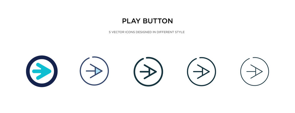play button icon in different style vector illustration. two colored and black play button vector icons designed in filled, outline, line and stroke style can be used for web, mobile, ui