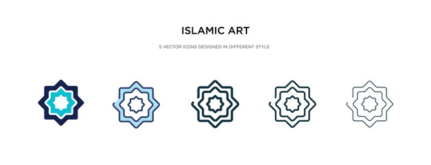 islamic art icon in different style vector illustration. two colored and black islamic art vector icons designed in filled, outline, line and stroke style can be used for web, mobile, ui