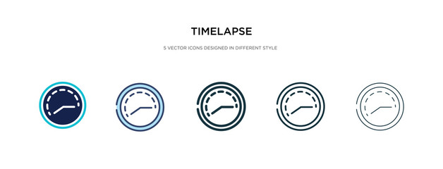 timelapse icon in different style vector illustration. two colored and black timelapse vector icons designed in filled, outline, line and stroke style can be used for web, mobile, ui