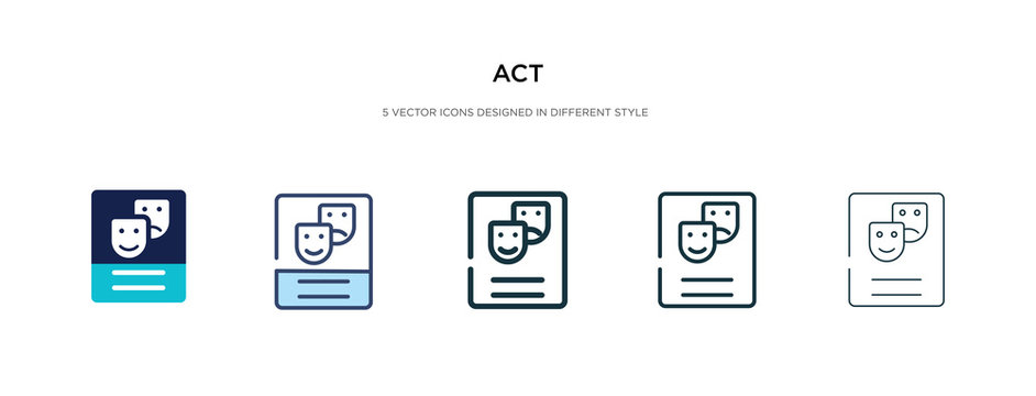 act icon in different style vector illustration. two colored and black act vector icons designed in filled, outline, line and stroke style can be used for web, mobile, ui