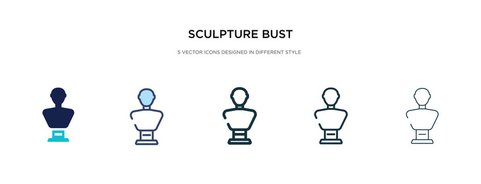 sculpture bust icon in different style vector illustration. two colored and black sculpture bust vector icons designed in filled, outline, line and stroke style can be used for web, mobile, ui