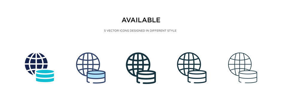 available icon in different style vector illustration. two colored and black available vector icons designed in filled, outline, line and stroke style can be used for web, mobile, ui