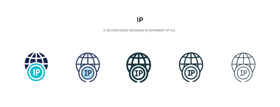ip icon in different style vector illustration. two colored and black ip vector icons designed in filled, outline, line and stroke style can be used for web, mobile, ui