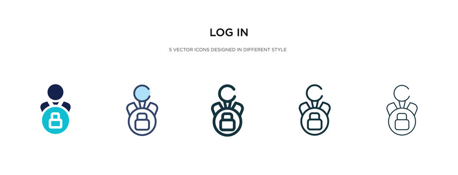 log in icon in different style vector illustration. two colored and black log in vector icons designed filled, outline, line and stroke style can be used for web, mobile, ui