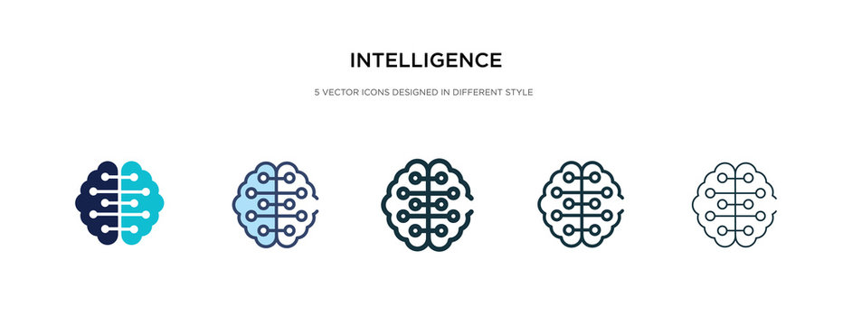 intelligence icon in different style vector illustration. two colored and black intelligence vector icons designed in filled, outline, line and stroke style can be used for web, mobile, ui