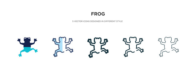 frog icon in different style vector illustration. two colored and black frog vector icons designed in filled, outline, line and stroke style can be used for web, mobile, ui