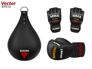 Boxing punching bag in the vector.Boxing gloves in the vector.MMA gloves in vector.