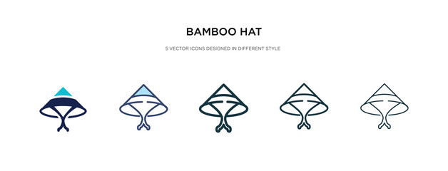 bamboo hat icon in different style vector illustration. two colored and black bamboo hat vector icons designed in filled, outline, line and stroke style can be used for web, mobile, ui
