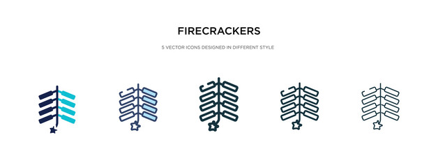 firecrackers icon in different style vector illustration. two colored and black firecrackers vector icons designed in filled, outline, line and stroke style can be used for web, mobile, ui
