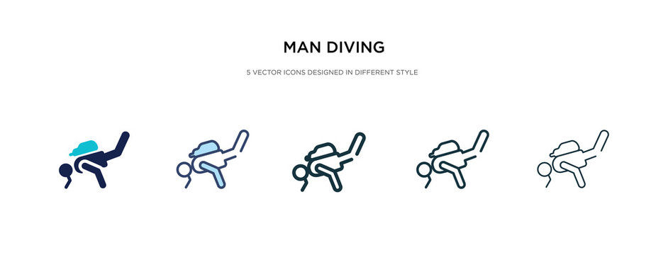 man diving icon in different style vector illustration. two colored and black man diving vector icons designed in filled, outline, line and stroke style can be used for web, mobile, ui