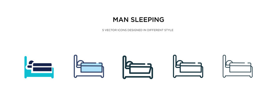 man sleeping icon in different style vector illustration. two colored and black man sleeping vector icons designed in filled, outline, line and stroke style can be used for web, mobile, ui