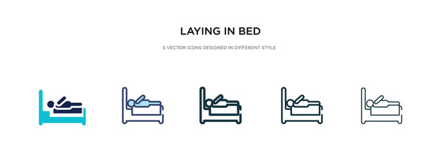 laying in bed icon in different style vector illustration. two colored and black laying in bed vector icons designed filled, outline, line and stroke style can be used for web, mobile, ui