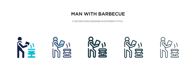 man with barbecue icon in different style vector illustration. two colored and black man with barbecue vector icons designed in filled, outline, line and stroke style can be used for web, mobile, ui