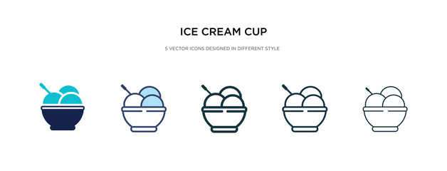 ice cream cup icon in different style vector illustration. two colored and black ice cream cup vector icons designed in filled, outline, line and stroke style can be used for web, mobile, ui