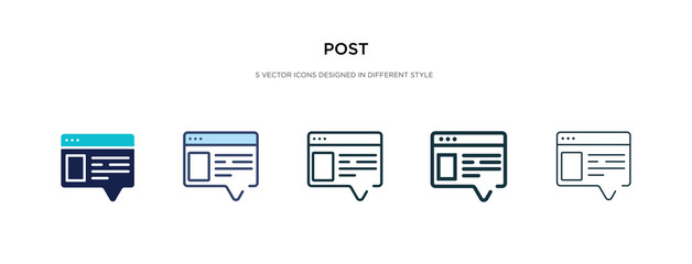 Fototapeta post icon in different style vector illustration. two colored and black post vector icons designed in filled, outline, line and stroke style can be used for web, mobile, ui