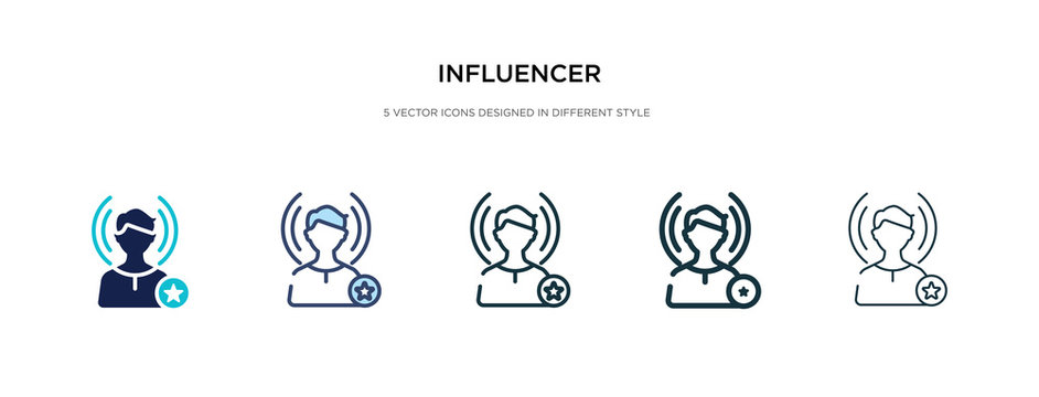 influencer icon in different style vector illustration. two colored and black influencer vector icons designed in filled, outline, line and stroke style can be used for web, mobile, ui