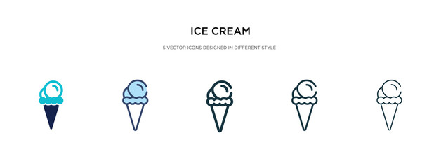 ice cream icon in different style vector illustration. two colored and black ice cream vector icons designed in filled, outline, line and stroke style can be used for web, mobile, ui