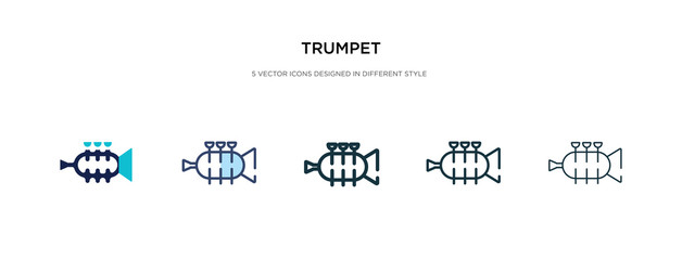 trumpet icon in different style vector illustration. two colored and black trumpet vector icons designed in filled, outline, line and stroke style can be used for web, mobile, ui