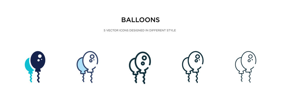 balloons icon in different style vector illustration. two colored and black balloons vector icons designed in filled, outline, line and stroke style can be used for web, mobile, ui