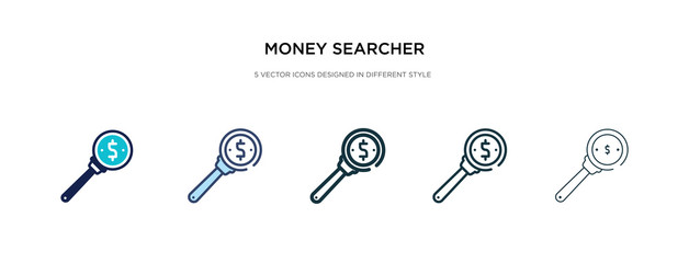 money searcher icon in different style vector illustration. two colored and black money searcher vector icons designed in filled, outline, line and stroke style can be used for web, mobile, ui
