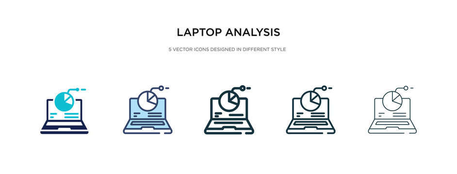laptop analysis icon in different style vector illustration. two colored and black laptop analysis vector icons designed in filled, outline, line and stroke style can be used for web, mobile, ui