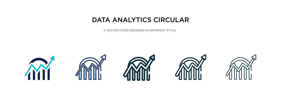 data analytics circular icon in different style vector illustration. two colored and black data analytics circular vector icons designed in filled, outline, line and stroke style can be used for
