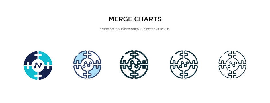 merge charts icon in different style vector illustration. two colored and black merge charts vector icons designed in filled, outline, line and stroke style can be used for web, mobile, ui