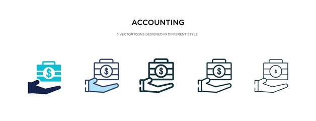 accounting icon in different style vector illustration. two colored and black accounting vector icons designed in filled, outline, line and stroke style can be used for web, mobile, ui