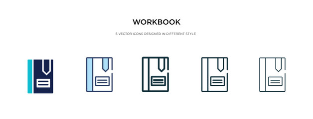 workbook icon in different style vector illustration. two colored and black workbook vector icons designed in filled, outline, line and stroke style can be used for web, mobile, ui