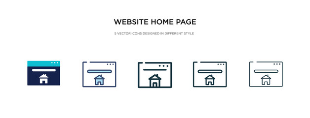website home page icon in different style vector illustration. two colored and black website home page vector icons designed in filled, outline, line and stroke style can be used for web, mobile, ui