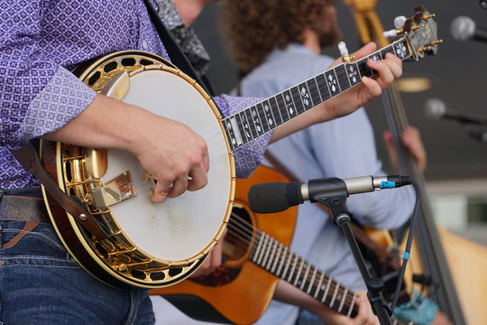Banjo player in a bluegrass band