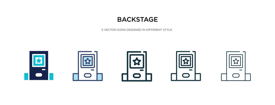 backstage icon in different style vector illustration. two colored and black backstage vector icons designed in filled, outline, line and stroke style can be used for web, mobile, ui