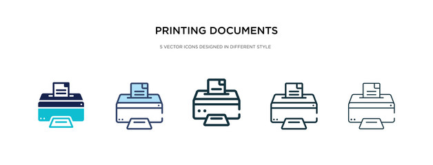 printing documents icon in different style vector illustration. two colored and black printing documents vector icons designed in filled, outline, line and stroke style can be used for web, mobile,