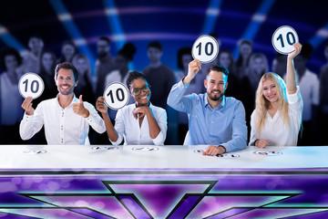 Panel Judges Holding 10 Score Signs