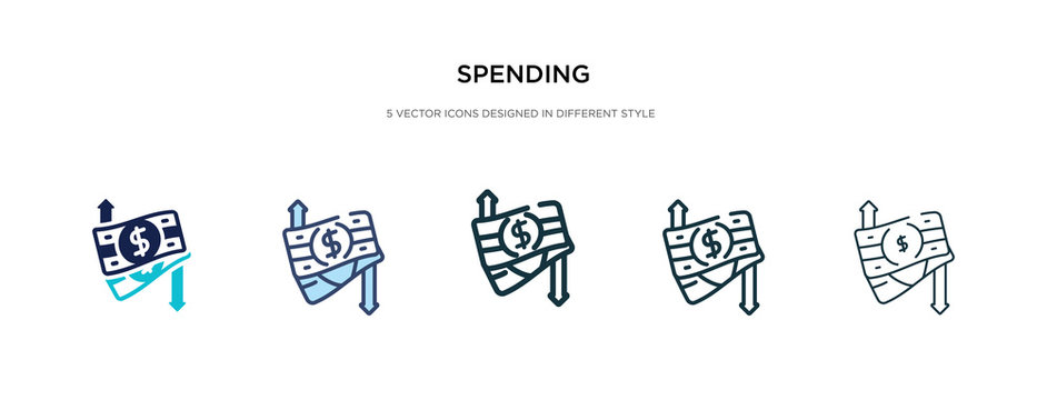 spending icon in different style vector illustration. two colored and black spending vector icons designed in filled, outline, line and stroke style can be used for web, mobile, ui