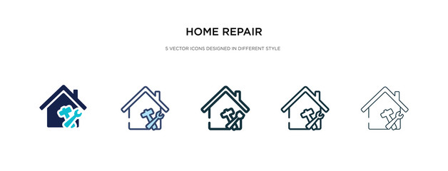 Obraz home repair icon in different style vector illustration. two colored and black home repair vector icons designed in filled, outline, line and stroke style can be used for web, mobile, ui - fototapety do salonu