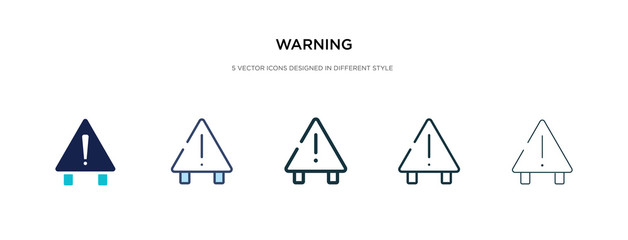 warning icon in different style vector illustration. two colored and black warning vector icons designed in filled, outline, line and stroke style can be used for web, mobile, ui
