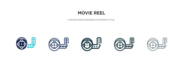 movie reel icon in different style vector illustration. two colored and black movie reel vector icons designed in filled, outline, line and stroke style can be used for web, mobile, ui