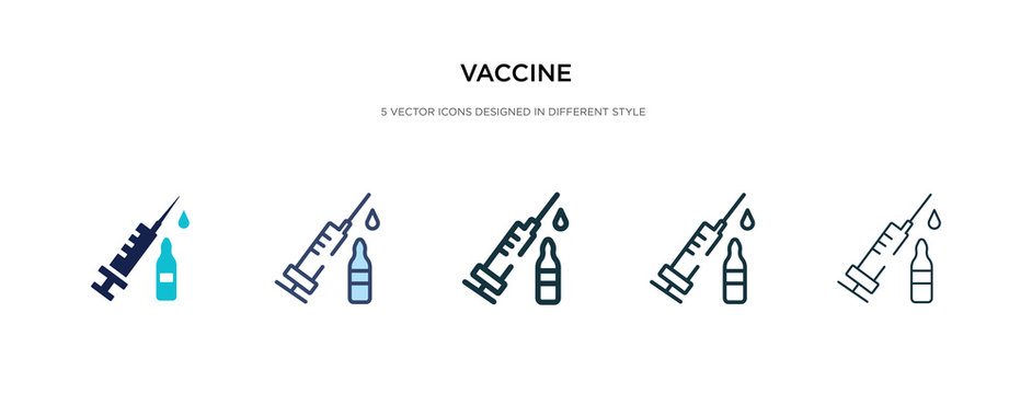 vaccine icon in different style vector illustration. two colored and black vaccine vector icons designed in filled, outline, line and stroke style can be used for web, mobile, ui