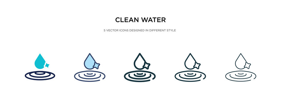 clean water icon in different style vector illustration. two colored and black clean water vector icons designed in filled, outline, line and stroke style can be used for web, mobile, ui