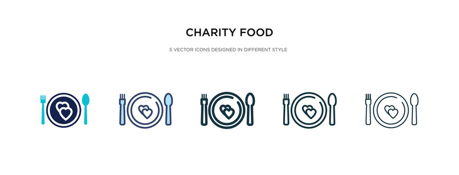 charity food icon in different style vector illustration. two colored and black charity food vector icons designed in filled, outline, line and stroke style can be used for web, mobile, ui