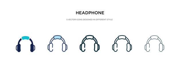 headphone icon in different style vector illustration. two colored and black headphone vector icons designed in filled, outline, line and stroke style can be used for web, mobile, ui