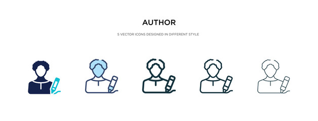 author icon in different style vector illustration. two colored and black author vector icons designed in filled, outline, line and stroke style can be used for web, mobile, ui
