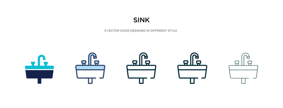 sink icon in different style vector illustration. two colored and black sink vector icons designed in filled, outline, line and stroke style can be used for web, mobile, ui